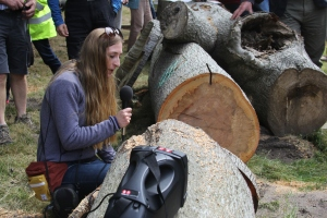 Emma with a heart-rotted tree